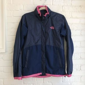 North Face Blue Rain Coat Womens Small zip up